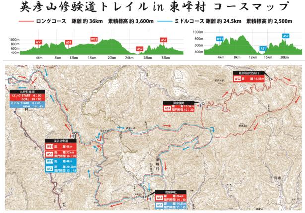 東峰村修験道トレイルコースマップ